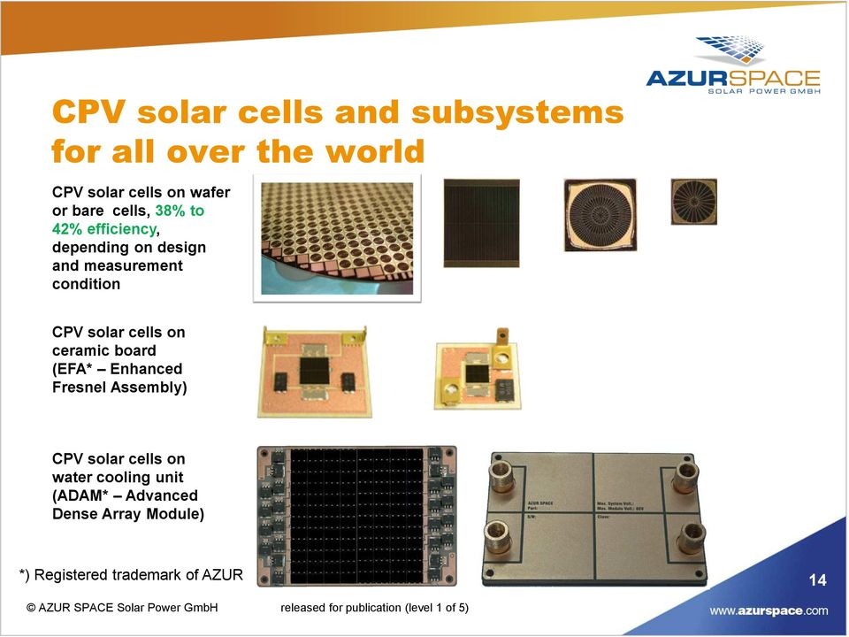 solar cells on ceramic board (EFA* Enhanced Fresnel Assembly) CPV solar cells on