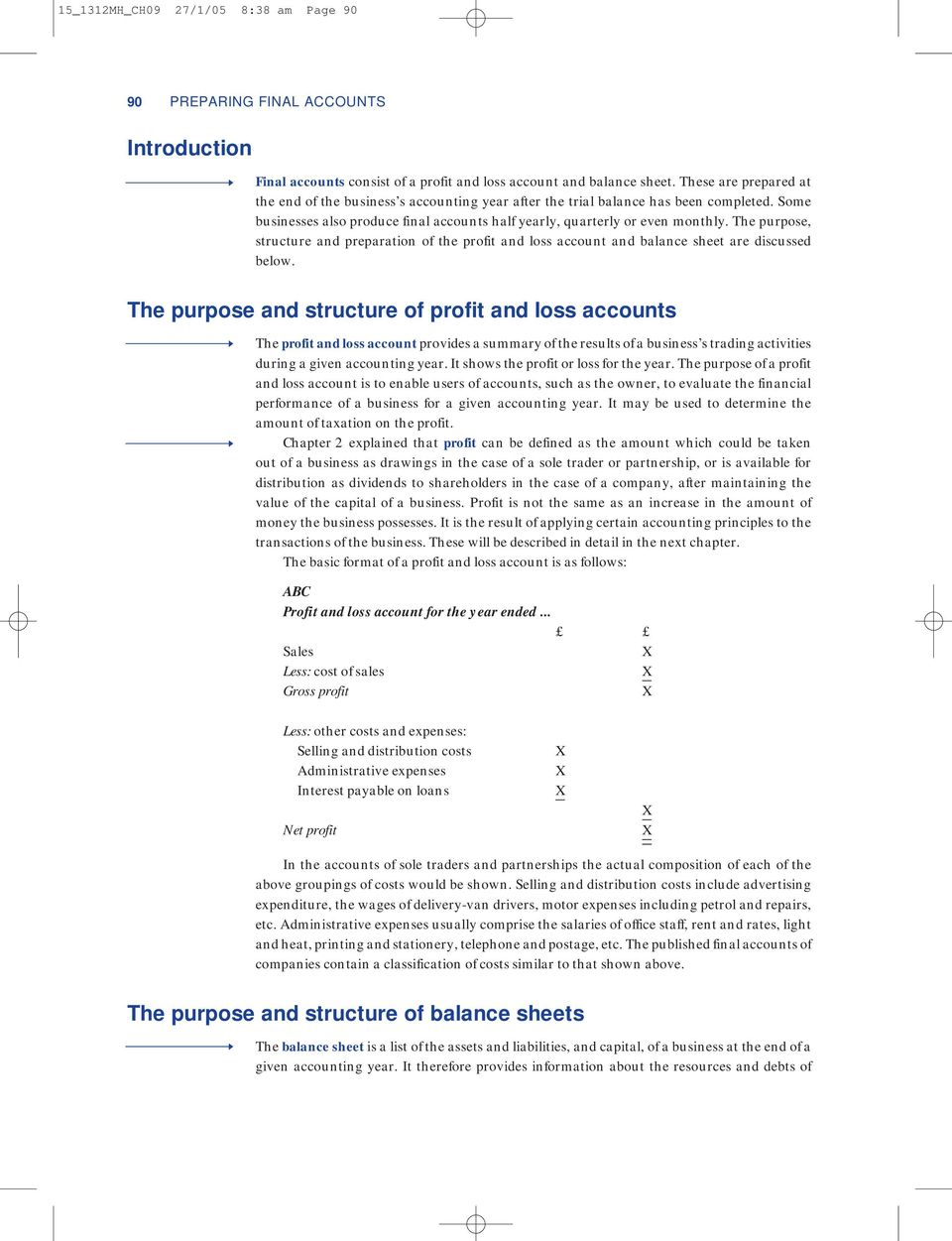 The purpose, structure and preparation of the profit and loss account and balance sheet are discussed below.