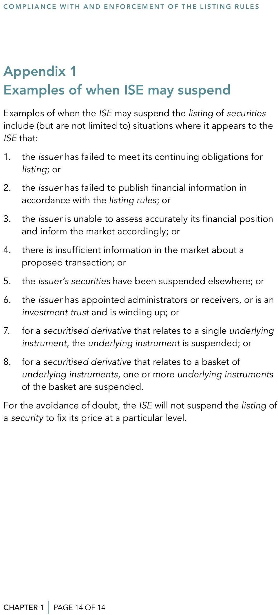 the issuer has failed to publish financial information in accordance with the listing rules; or 3.
