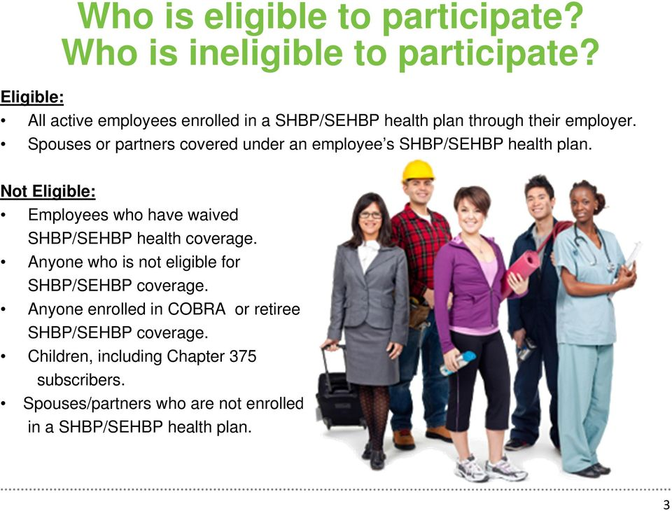 Spouses or partners covered under an employee s SHBP/SEHBP health plan.