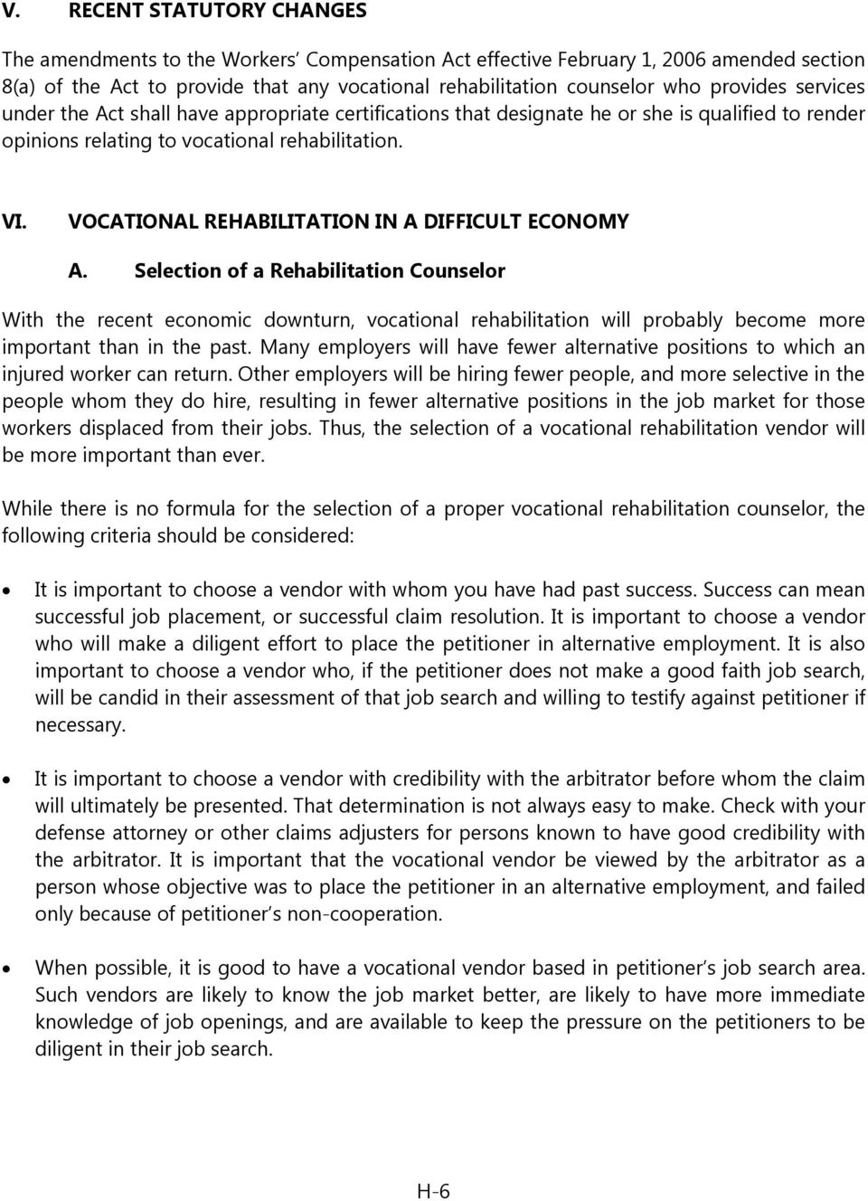 VOCATIONAL REHABILITATION IN A DIFFICULT ECONOMY A.