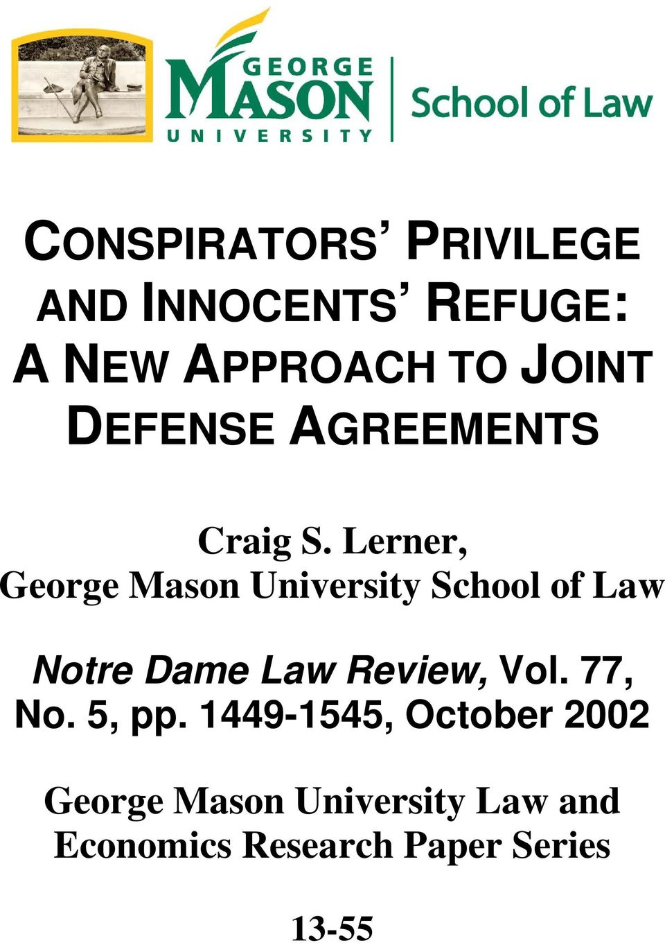 Lerner, George Mason University School of Law Notre Dame Law Review,