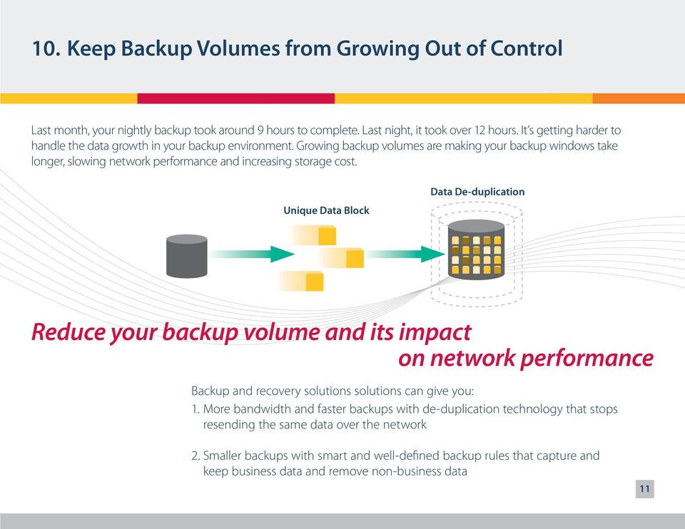 Unique Data Block Data De-duplication Reduce your backup volume and its impact on network performance Backup and recovery solutions solutions can give you: 1.
