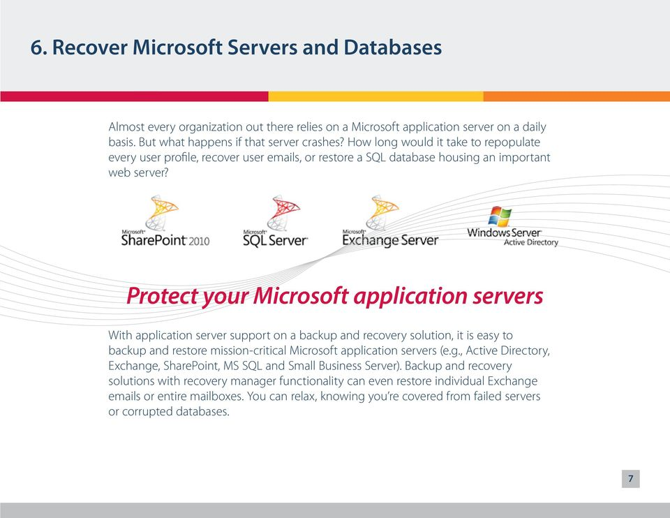 Protect your Microsoft application servers With application server support on a backup and recovery solution, it is easy to backup and restore mission-critical Microsoft application servers (e.g.