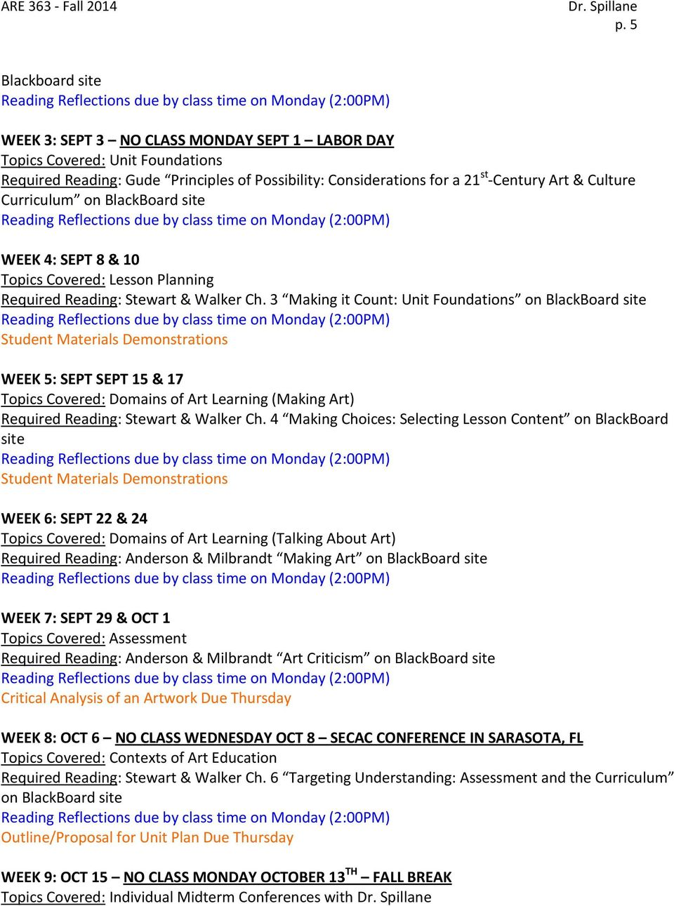 3 Making it Count: Unit Foundations on BlackBoard site Student Materials Demonstrations WEEK 5: SEPT SEPT 15 & 17 Topics Covered: Domains of Art Learning (Making Art) Required Reading: Stewart &