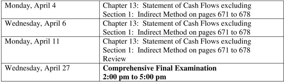 excluding Section 1: Indirect Method on pages 671 to 678 Chapter 13: Statement of Cash Flows