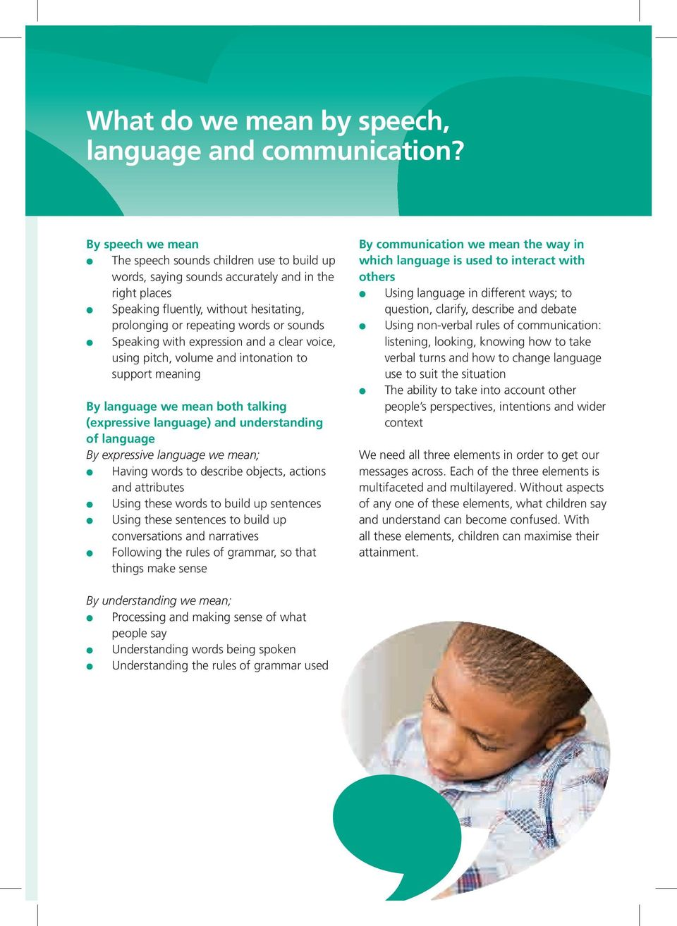 with expression and a cear voice, using pitch, voume and intonation to support meaning By anguage we mean both taking (expressive anguage) and understanding of anguage By expressive anguage we mean;