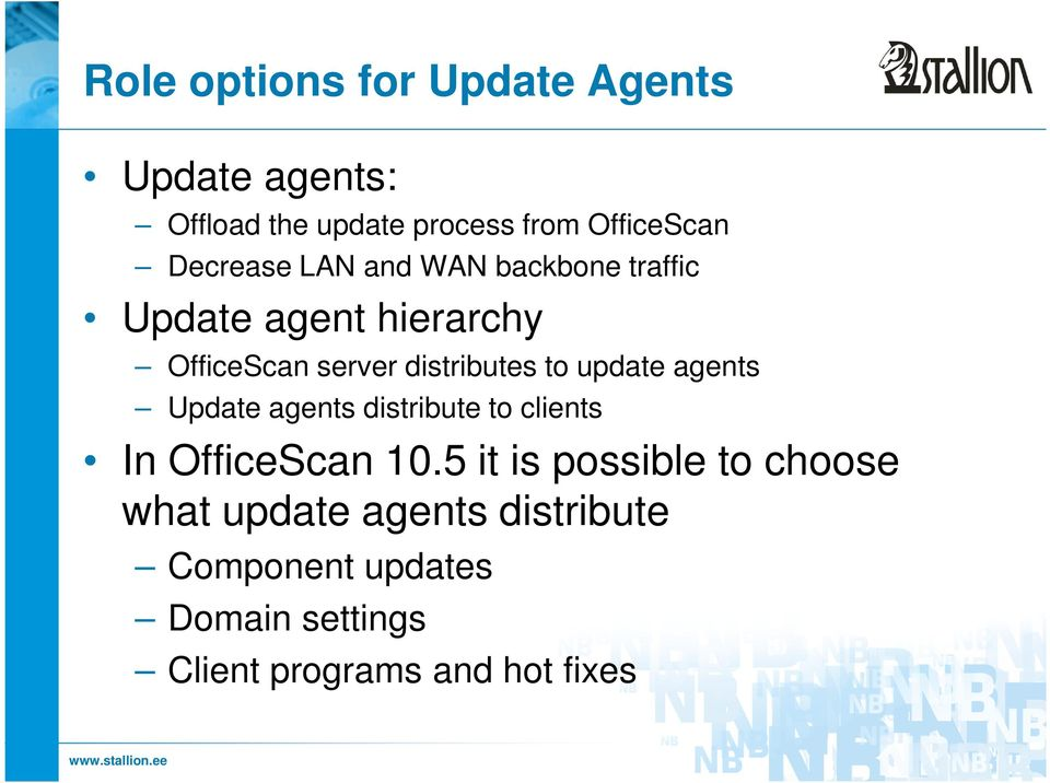 to update agents Update agents distribute to clients In OfficeScan 10.