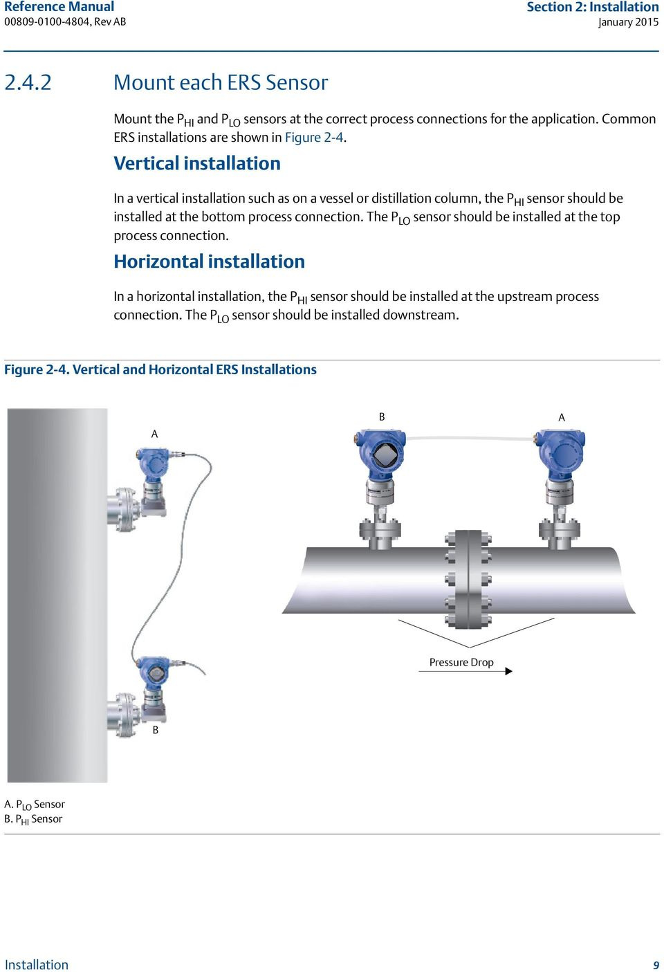 Vertical installation In a vertical installation such as on a vessel or distillation column, the P HI sensor should be installed at the bottom process connection.