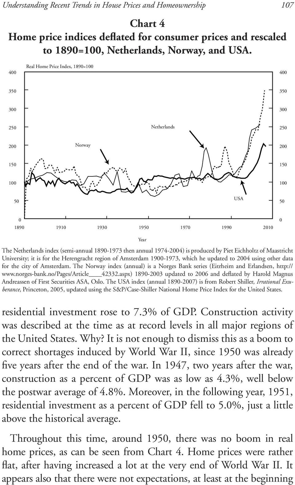 1890-1973 then annual 1974-2004) is produced by Piet Eichholtz of Maastricht University; it is for the Herengracht region of Amsterdam 1900-1973, which he updated to 2004 using other data for the