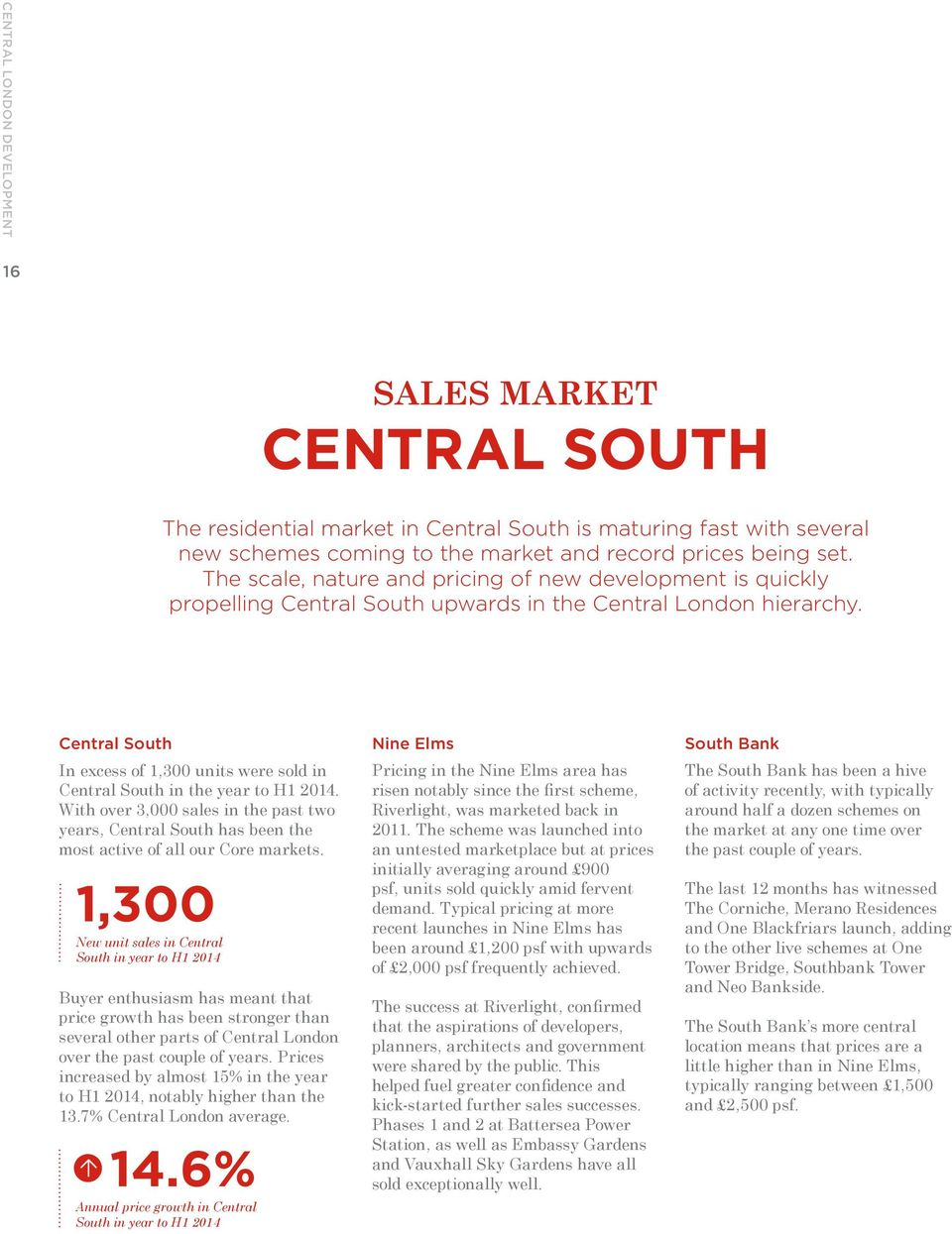 Central South In excess of 1,300 units were sold in Central South in the year to H1 2014. With over 3,000 sales in the past two years, Central South has been the most active of all our Core markets.