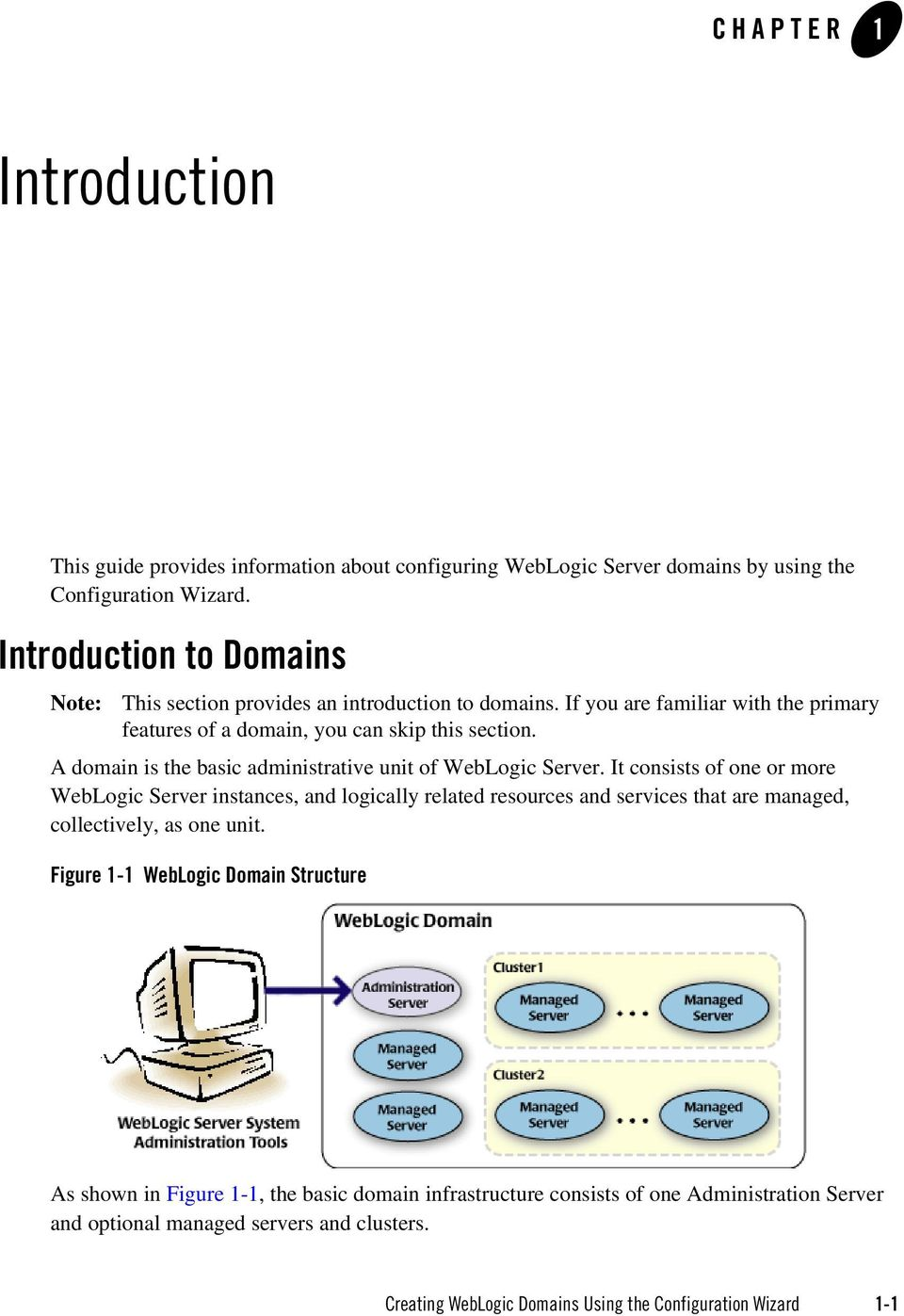 A domain is the basic administrative unit of WebLogic Server.