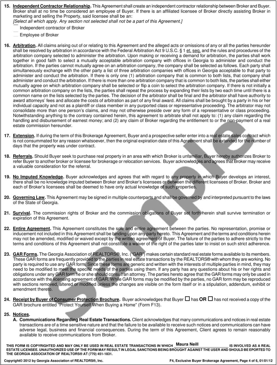Any section not selected shall not be a part of this Agreement.] Independent contractor of Broker Employee of Broker 16. Arbitration.