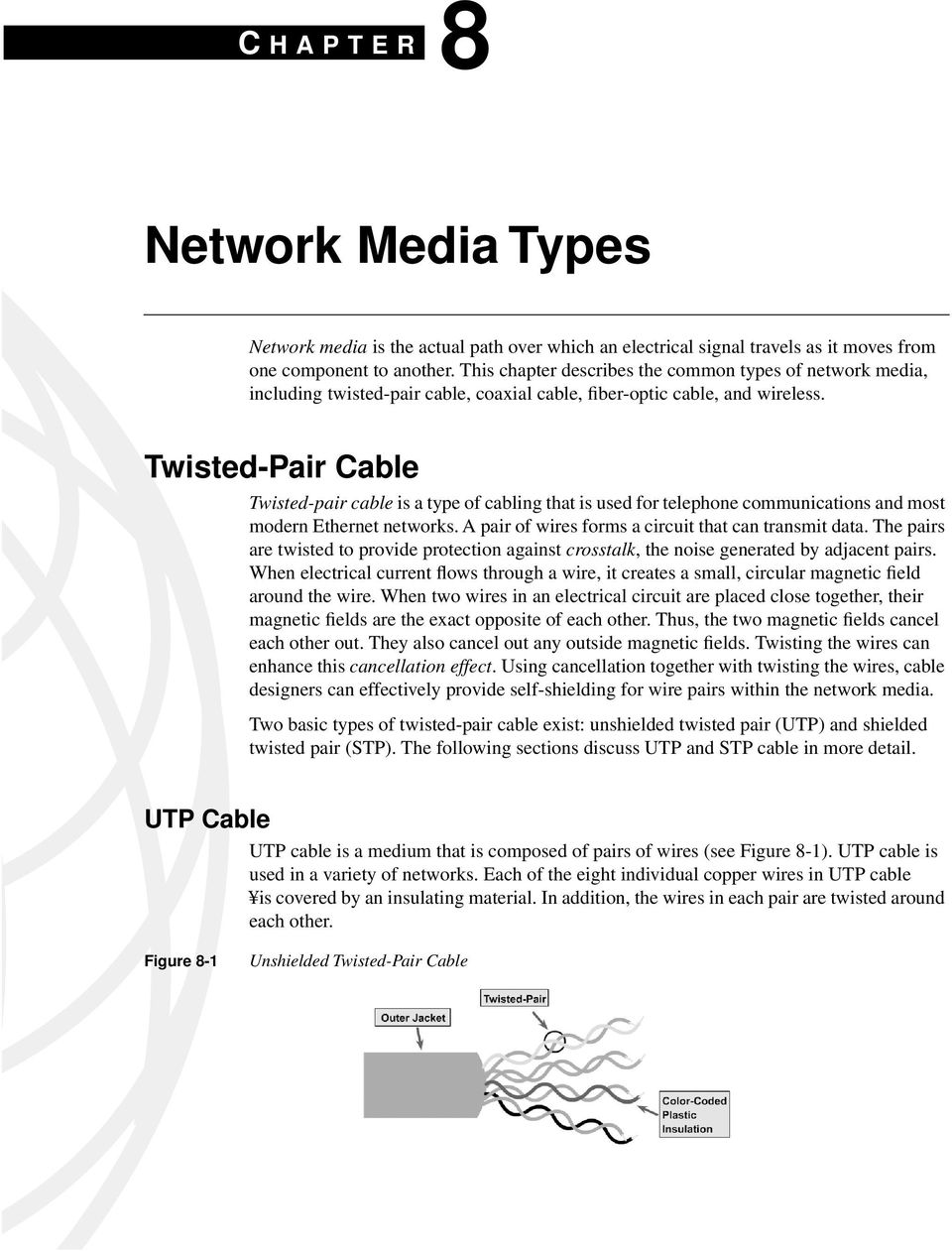 Twisted-Pair Cable Twisted-pair cable is a type of cabling that is used for telephone communications and most modern Ethernet networks. A pair of wires forms a circuit that can transmit data.