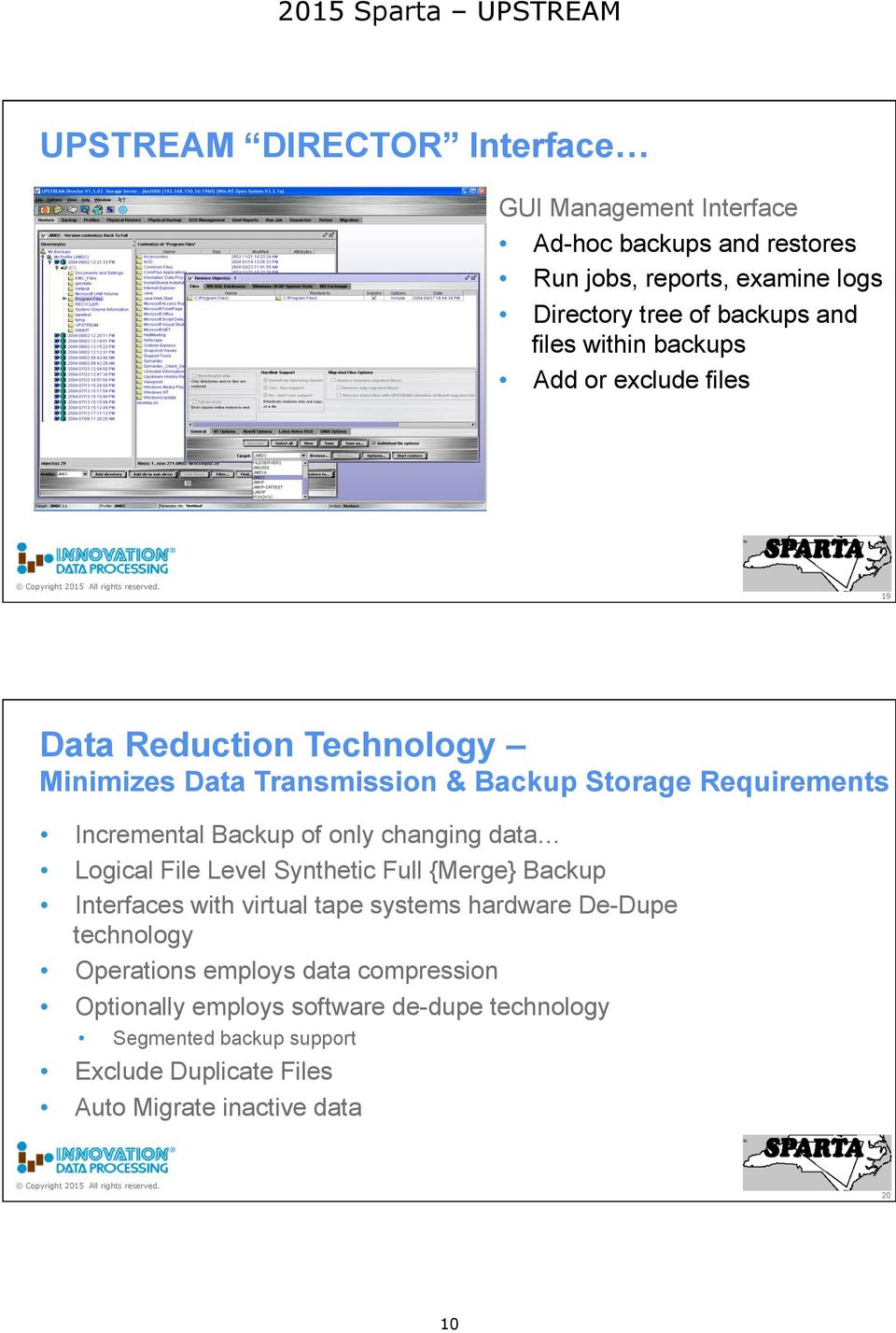 of only changing data Logical File Level Synthetic Full {Merge} Backup Interfaces with virtual tape systems hardware De-Dupe technology Operations
