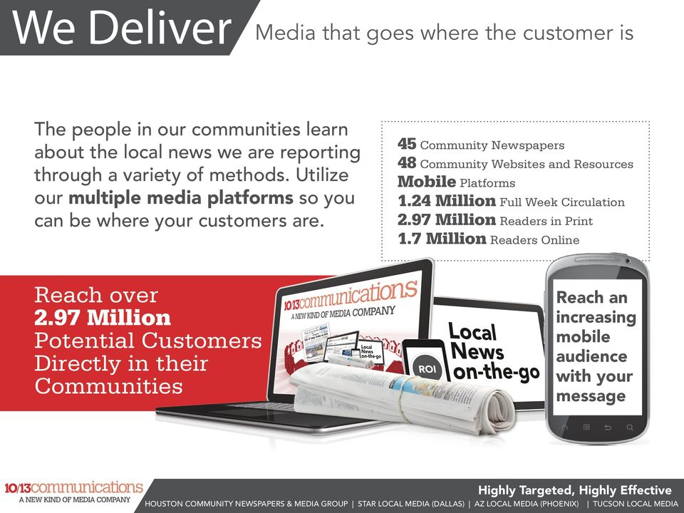 45 Community Newspapers 48 Community Websites and Resources Mobile Platforms 1.24 Million Full Week Circulation 2.