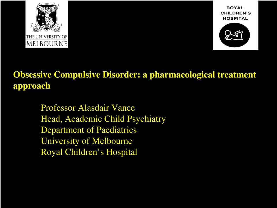 Academic Child Psychiatry Department of