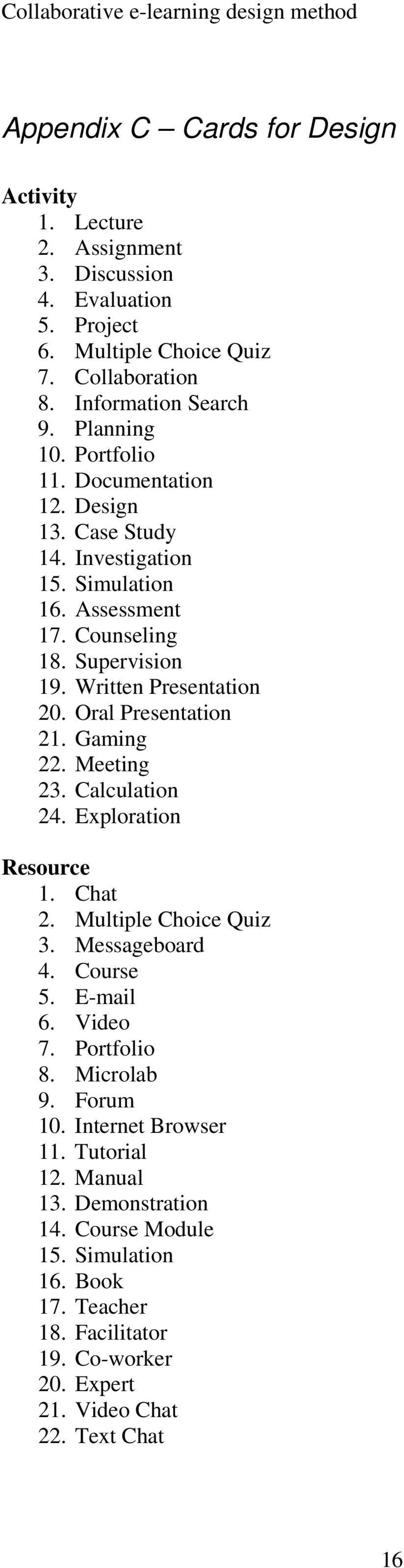 Oral Presentation 21. Gaming 22. Meeting 23. Calculation 24. Exploration Resource 1. Chat 2. Multiple Choice Quiz 3. Messageboard 4. Course 5. E-mail 6. Video 7. Portfolio 8.