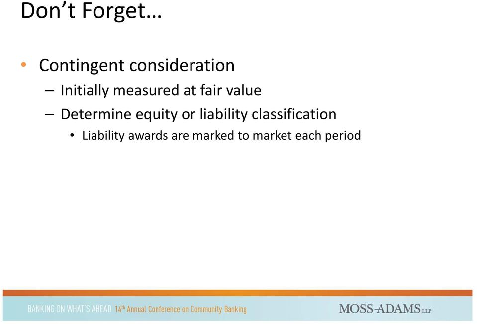Determine equity or liability