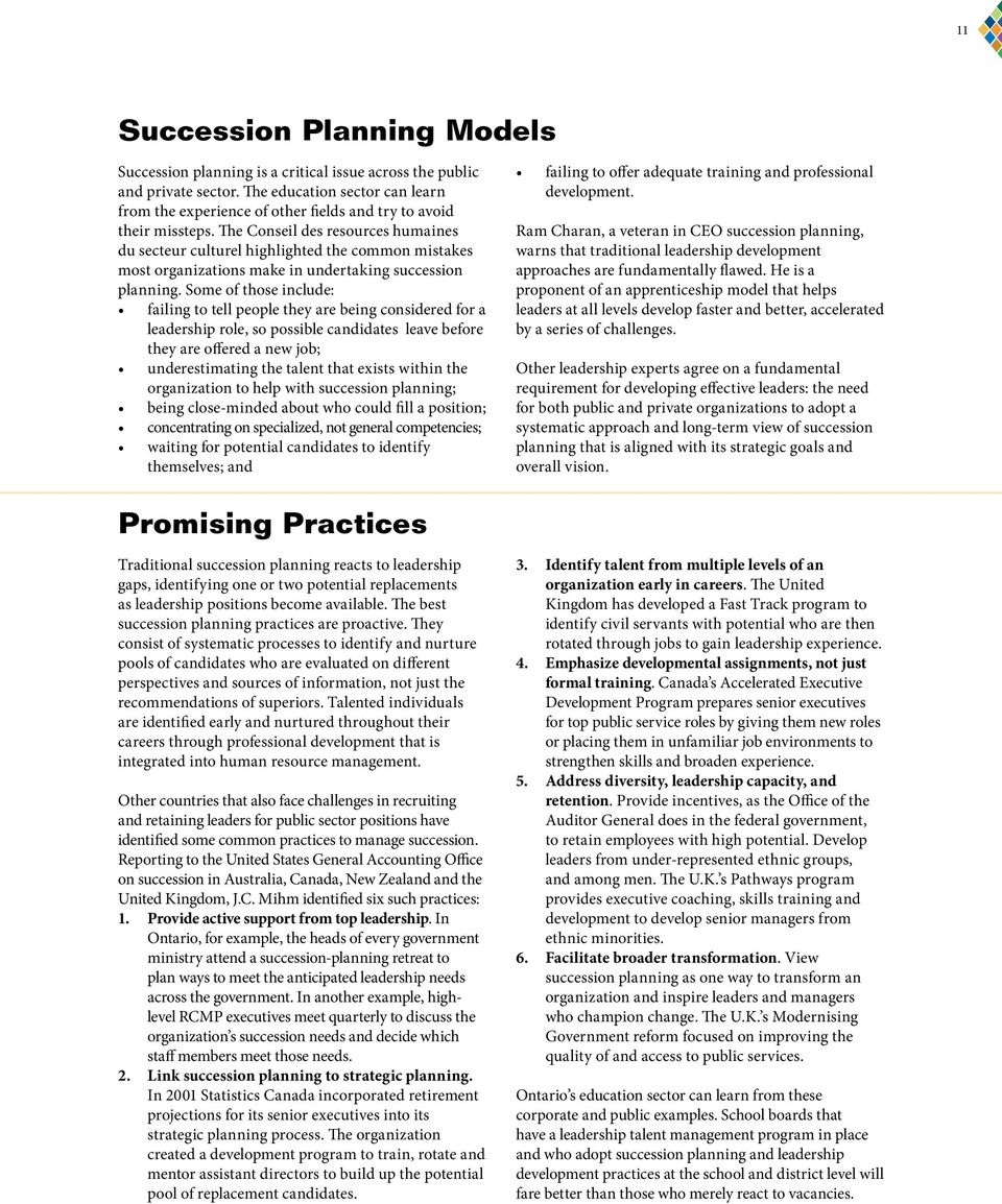 The Conseil des resources humaines du secteur culturel highlighted the common mistakes most organizations make in undertaking succession planning.