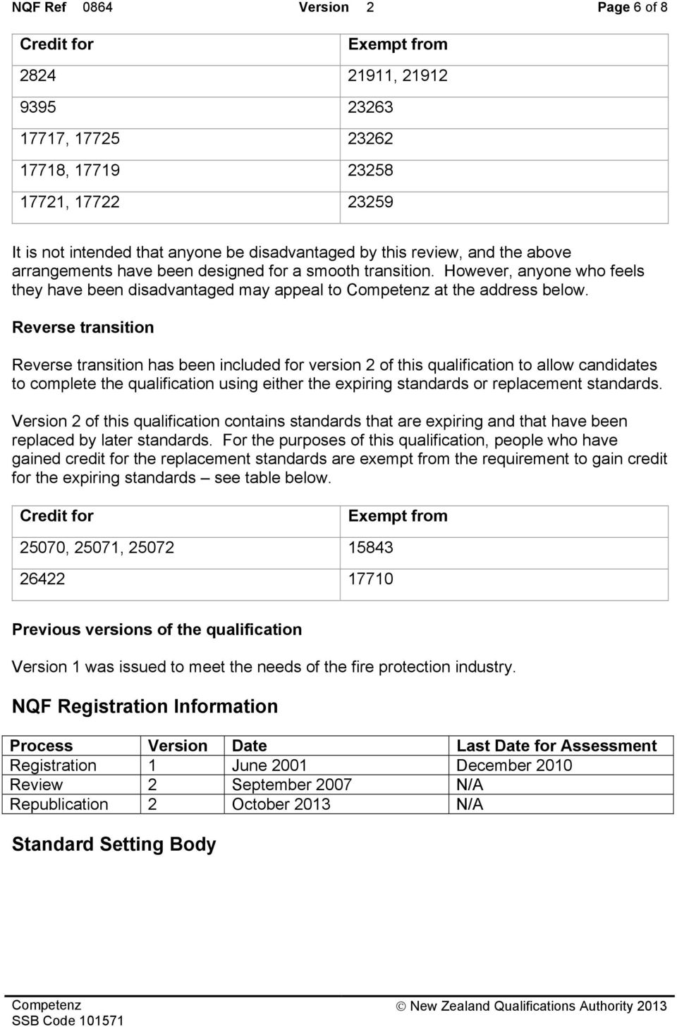 Reverse transition Reverse transition has been included for version 2 of this qualification to allow candidates to complete the qualification using either the expiring standards or replacement