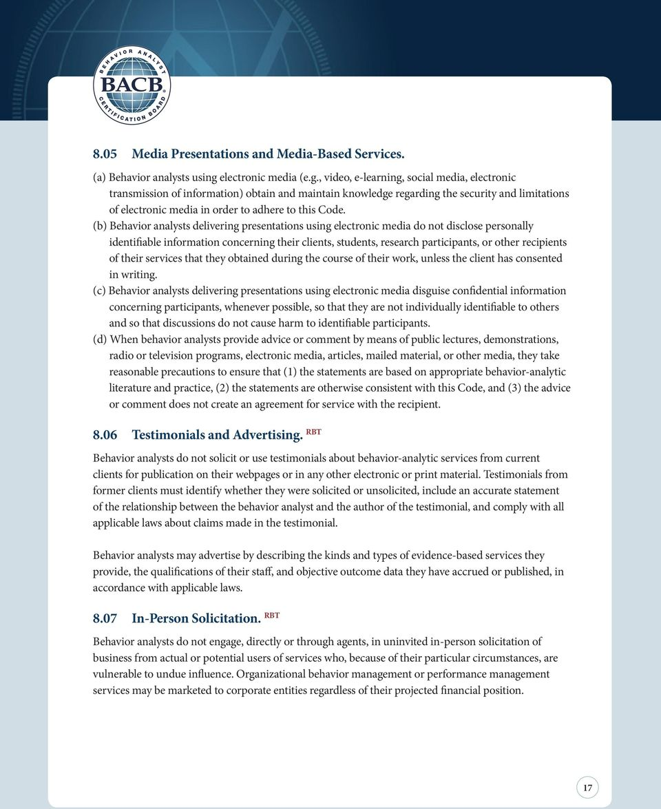 Professional and Ethical Compliance Code for Behavior