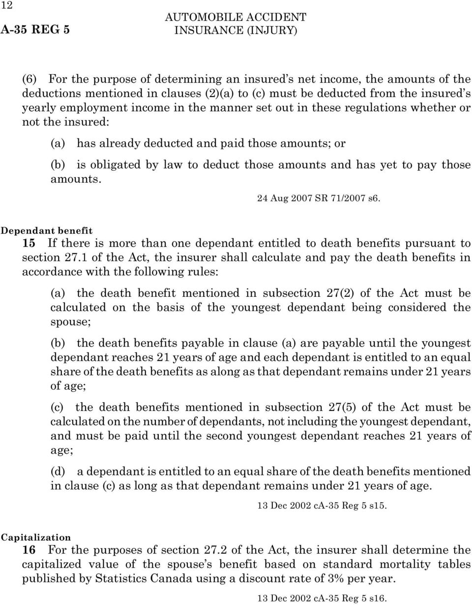 has yet to pay those amounts. 24 Aug 2007 SR 71/2007 s6. Dependant benefit 15 If there is more than one dependant entitled to death benefits pursuant to section 27.