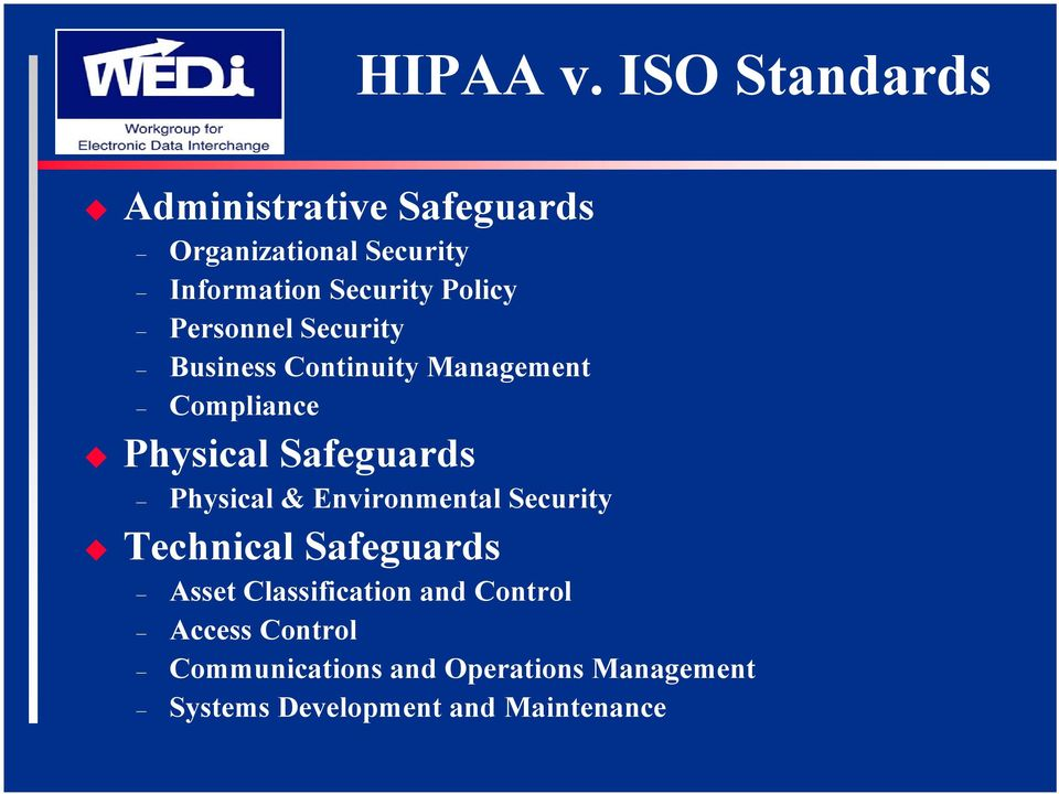 Policy Personnel Security Business Continuity Management Compliance Physical Safeguards