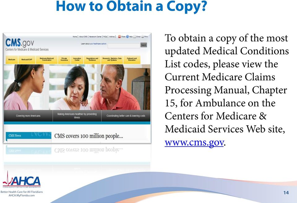 codes, please view the Current Medicare Claims Processing