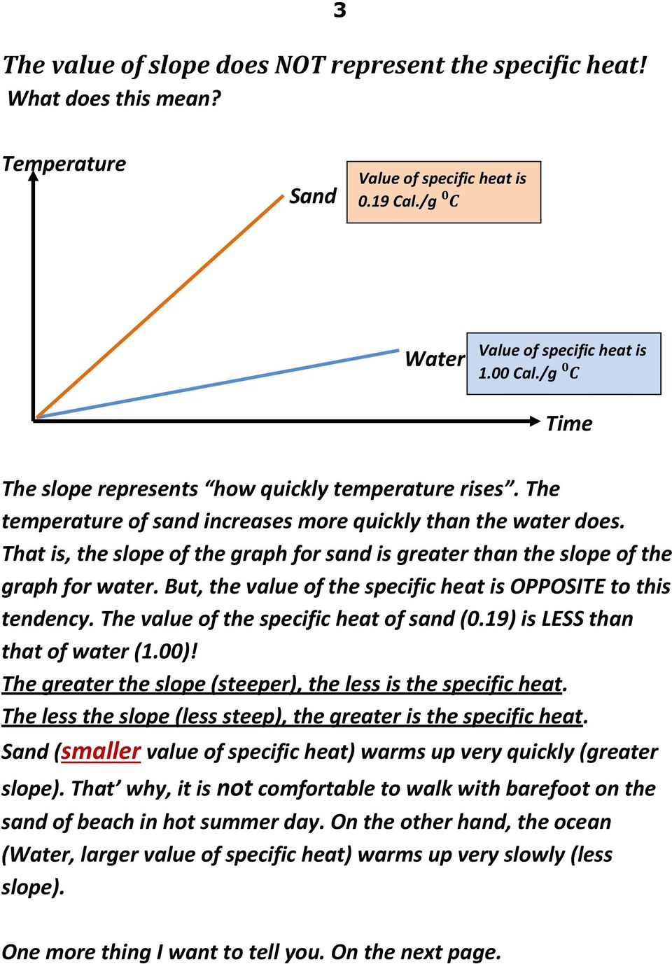 That is, the slope of the graph for sand is greater than the slope of the graph for water. But, the value of the specific heat is OPPOSITE to this tendency. The value of the specific heat of sand (0.