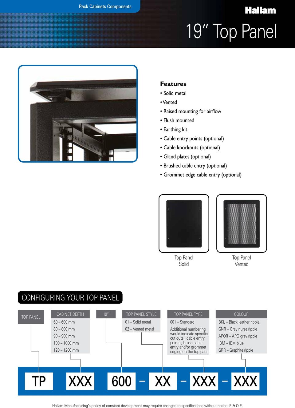 PANEL CABINET DEPTH 60 600 mm 80 800 mm 90 900 mm 100 1000 mm 120 1200 mm 19 TOP PANEL STYLE 01 Solid metal 02 Vented metal TOP PANEL TYPE 001