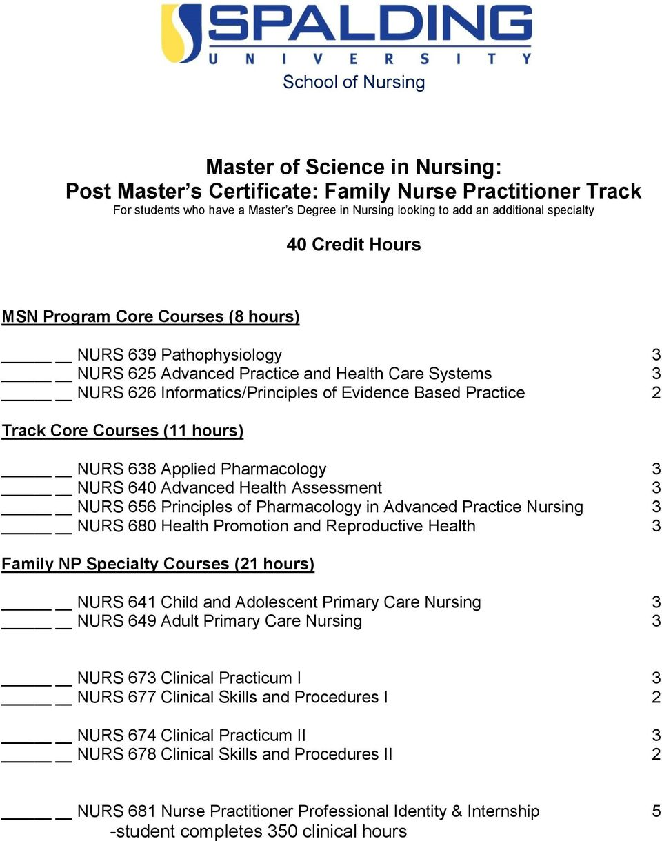 Courses (11 hours) NURS 638 Applied Pharmacology 3 NURS 640 Advanced Health Assessment 3 NURS 656 Principles of Pharmacology in Advanced Practice Nursing 3 NURS 680 Health Promotion and Reproductive