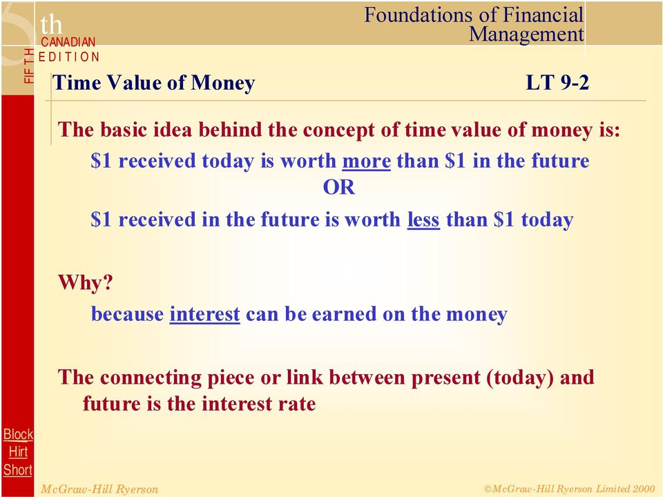 the future is worth less than $1 today Why?