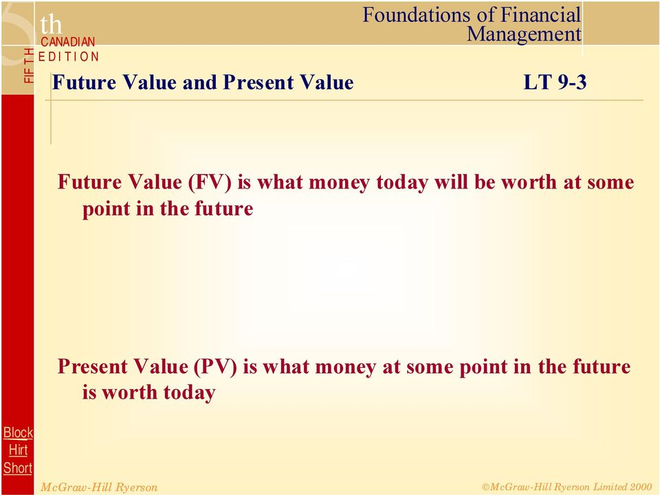 some point in the future Present Value (PV) is