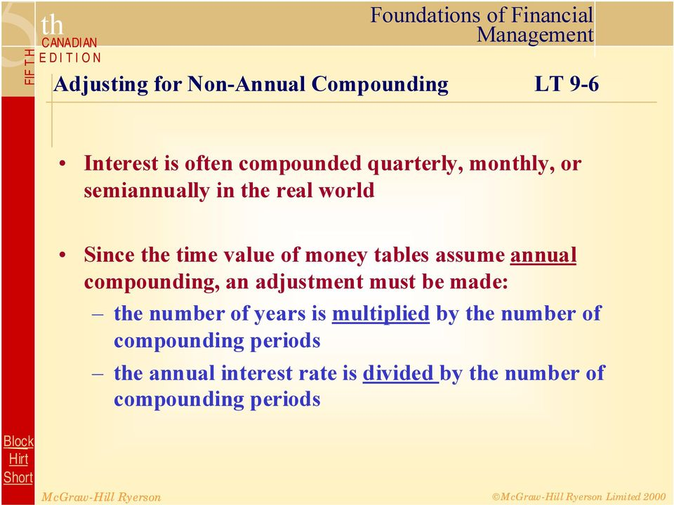 annual compounding, an adjustment must be made: the number of years is multiplied by the