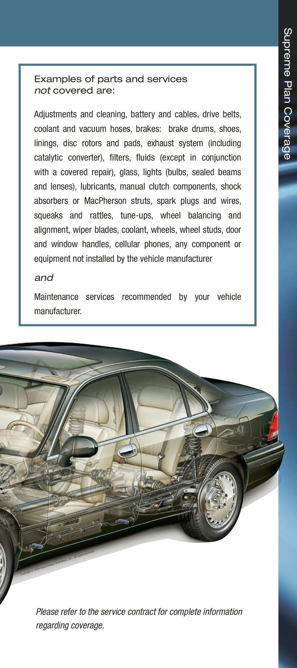 absorbers or MacPherson struts, spark plugs and wires, squeaks and rattles, tune-ups, wheel balancing and alignment, wiper blades, coolant, wheels, wheel studs, door and window handles, cellular