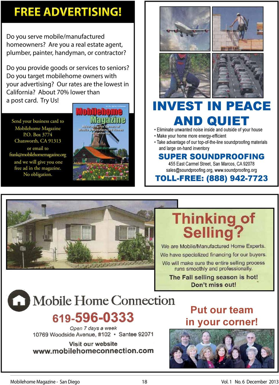 org and we will give you one free ad in the magazine. No obligation.