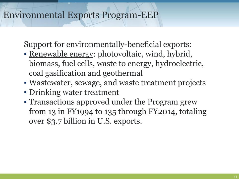 geothermal Wastewater, sewage, and waste treatment projects Drinking water treatment Transactions