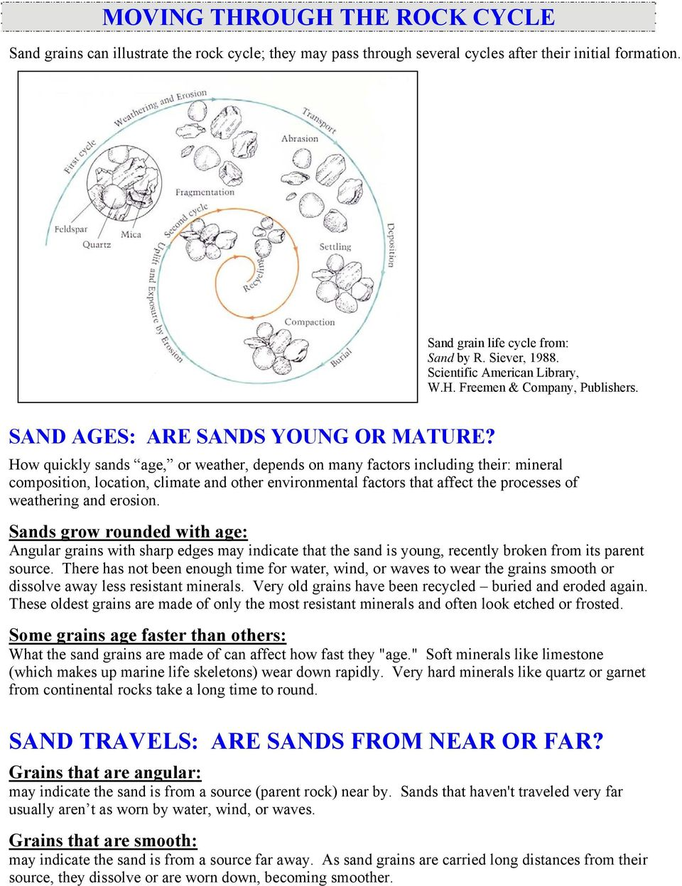How quickly sands age, or weather, depends on many factors including their: mineral composition, location, climate and other environmental factors that affect the processes of weathering and erosion.