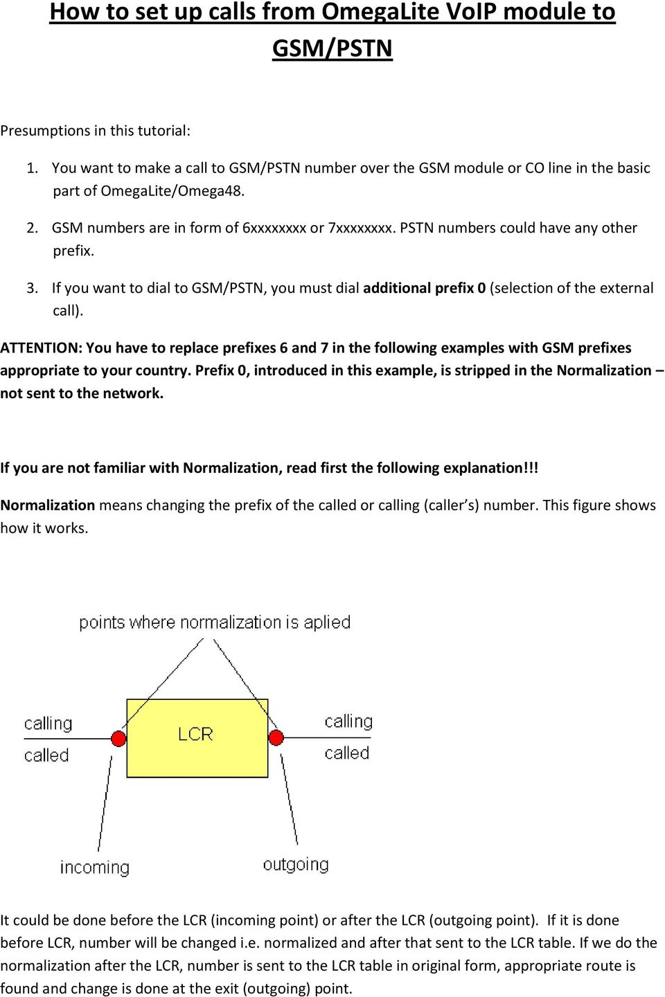 PSTN numbers could have any other prefix. 3. If you want to dial to GSM/PSTN, you must dial additional prefix 0 (selection of the external call).