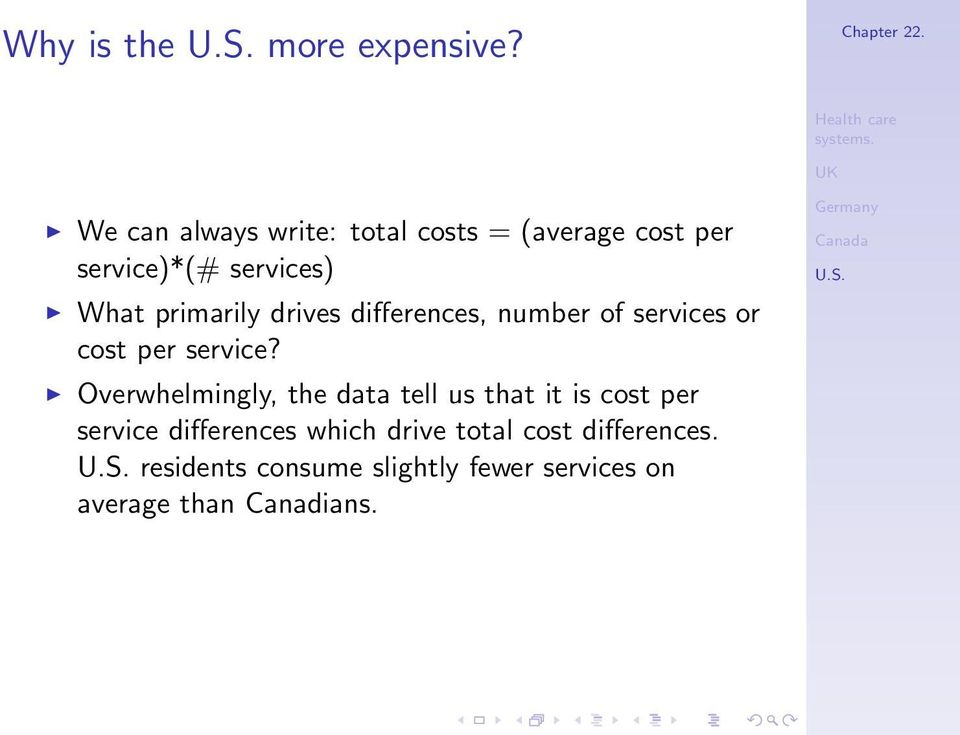 primarily drives differences, number of services or cost per service?