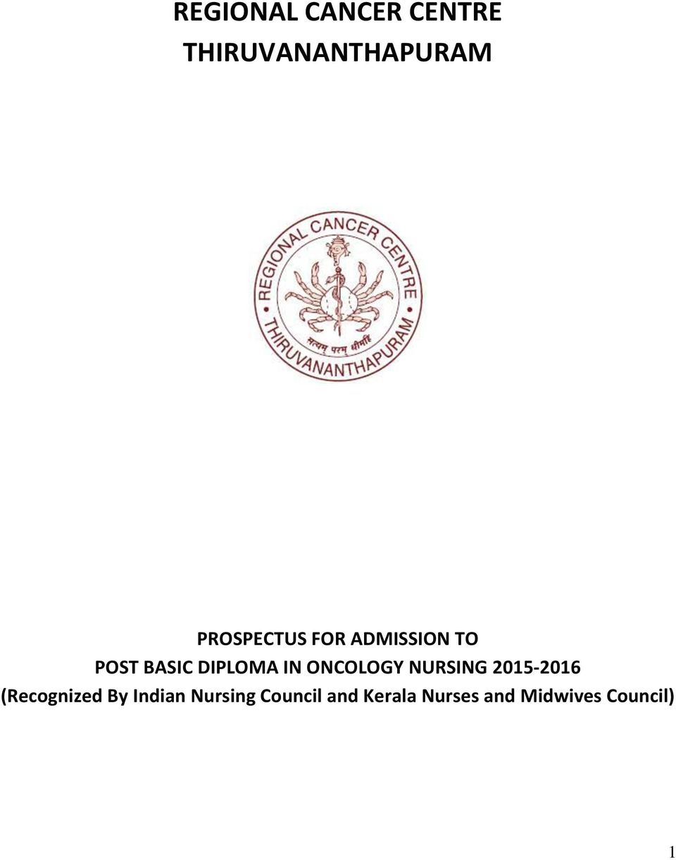 ONCOLOGY NURSING 2015-2016 (Recognized By Indian