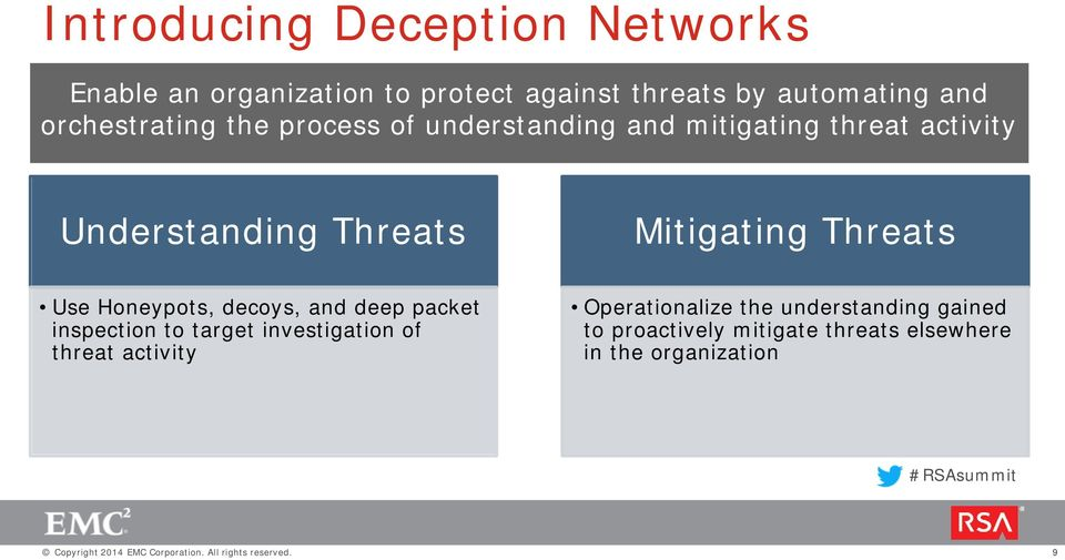 Mitigating Threats Use Honeypots, decoys, and deep packet inspection to target investigation of threat