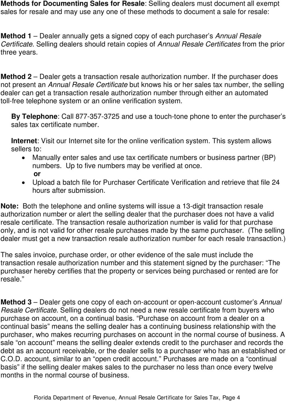 Annual Resale Certificate For Sales Tax Guidelines To Help Business