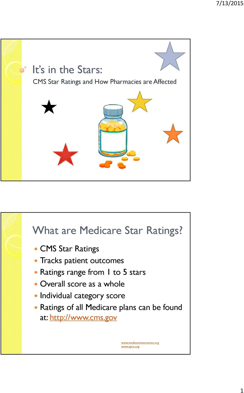 CMS Star Ratings Tracks patient outcomes Ratings range from 1 to 5 stars Overall