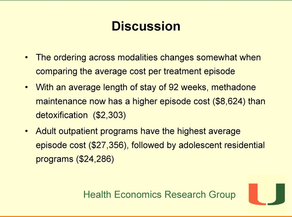 has a higher episode cost ($8,624) than detoxification ($2,303) Adult outpatient programs