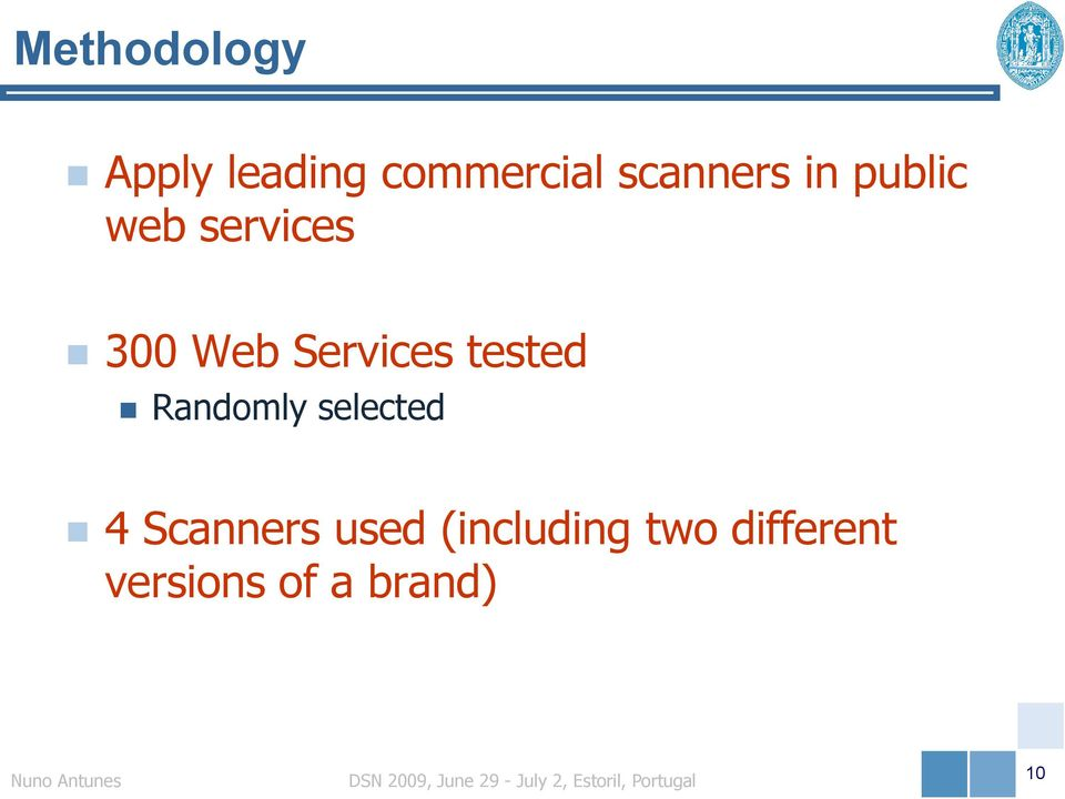 Services tested Randomly selected 4