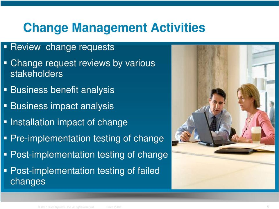 change Pre-implementation testing of change Post-implementation testing of change