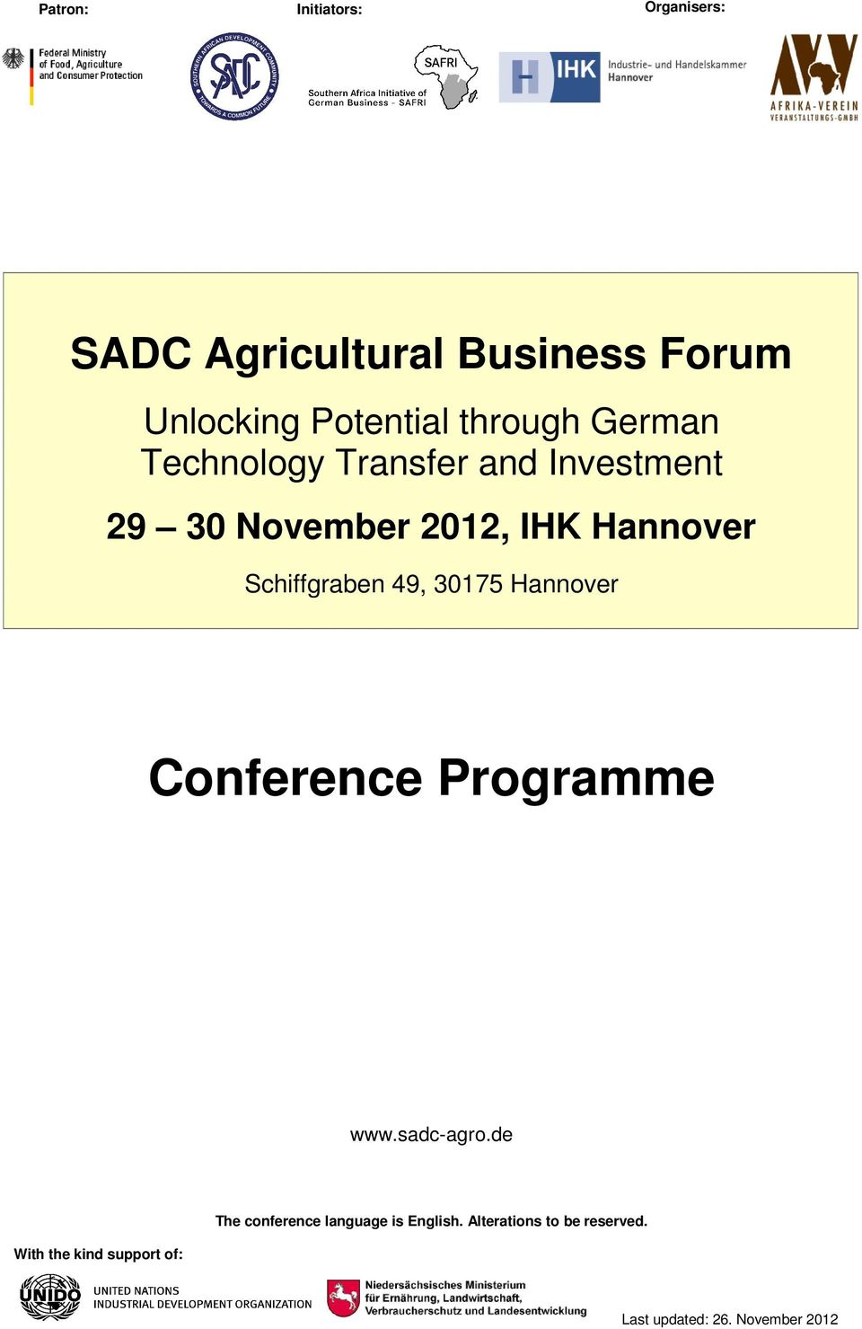 Schiffgraben 49, 30175 Hannover Conference Programme www.sadc-agro.