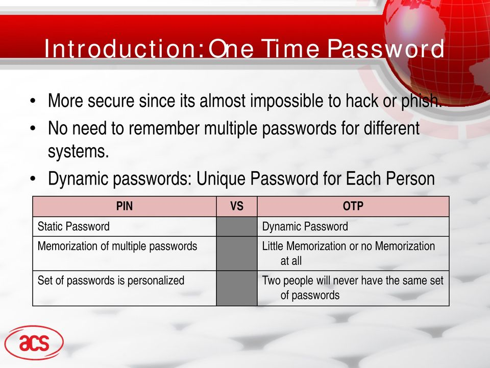 Dynamic passwords: Unique Password for Each Person PIN VS OTP Static Password Memorization of multiple